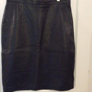 Ladies black leather skirt